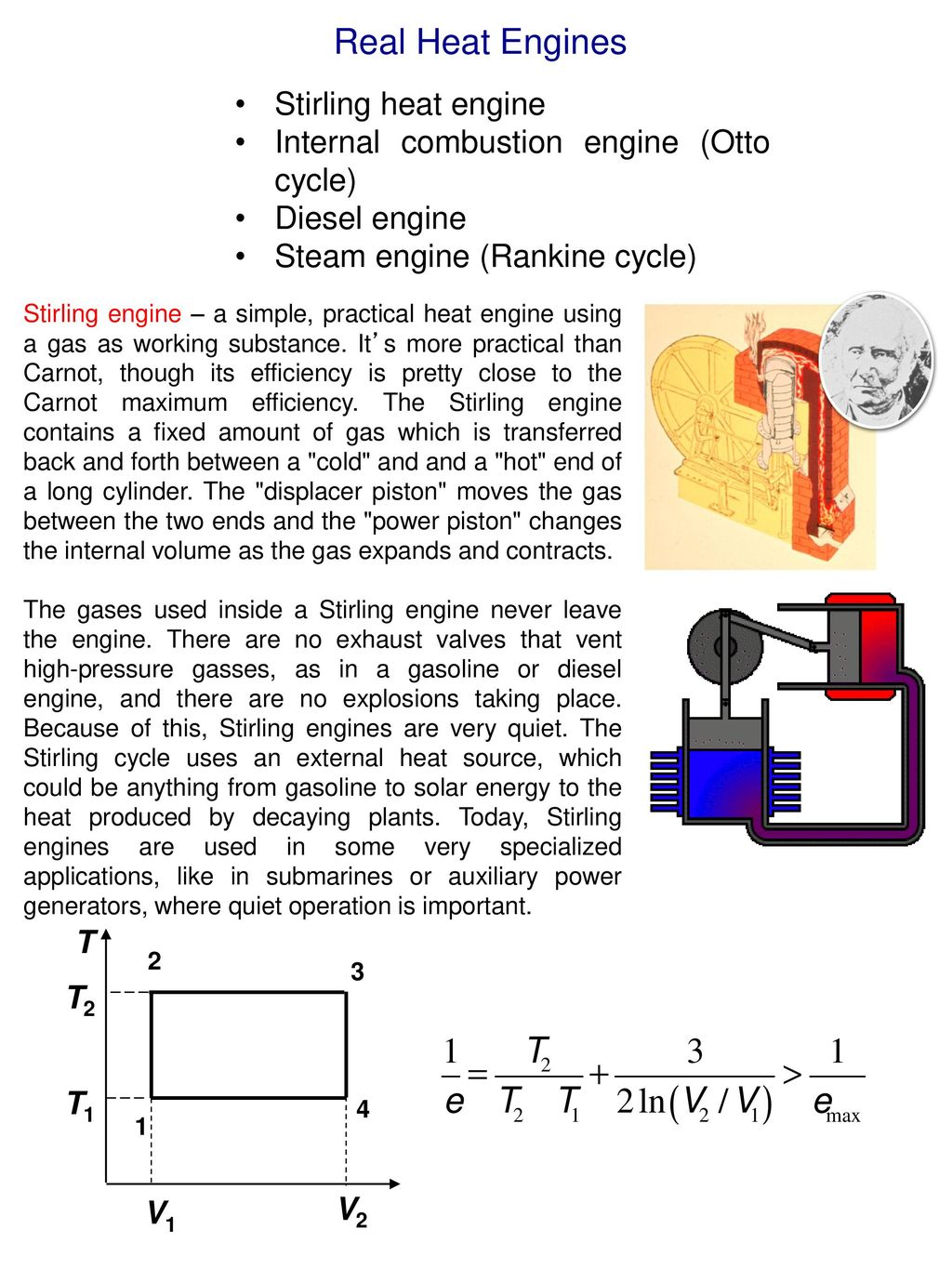 hight resolution of real heat engines stirling heat engine