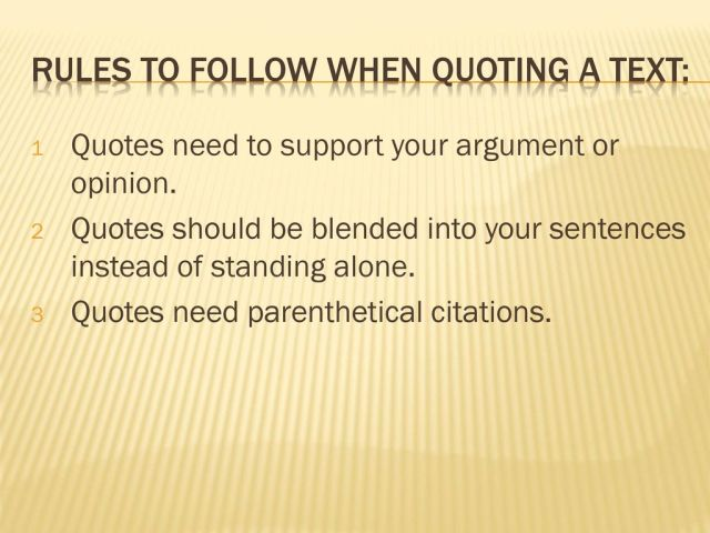 Integrating Quotes When you write about a story or an article, the