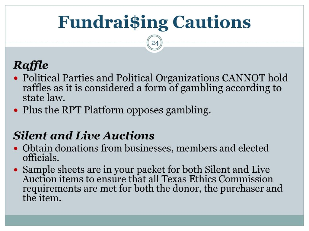 Fundrai$Ing Cautions Raffle Silent And Live Auctions
