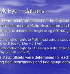 hawk eye datums data was initially processed on the ellipsoid and then transformed to malin [ 1024 x 768 Pixel ]