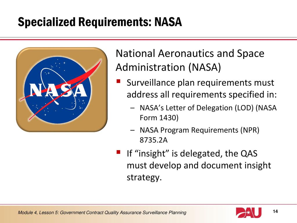 hight resolution of 14 specialized requirements nasa