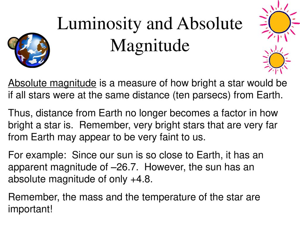 hight resolution of 3 luminosity and absolute magnitude
