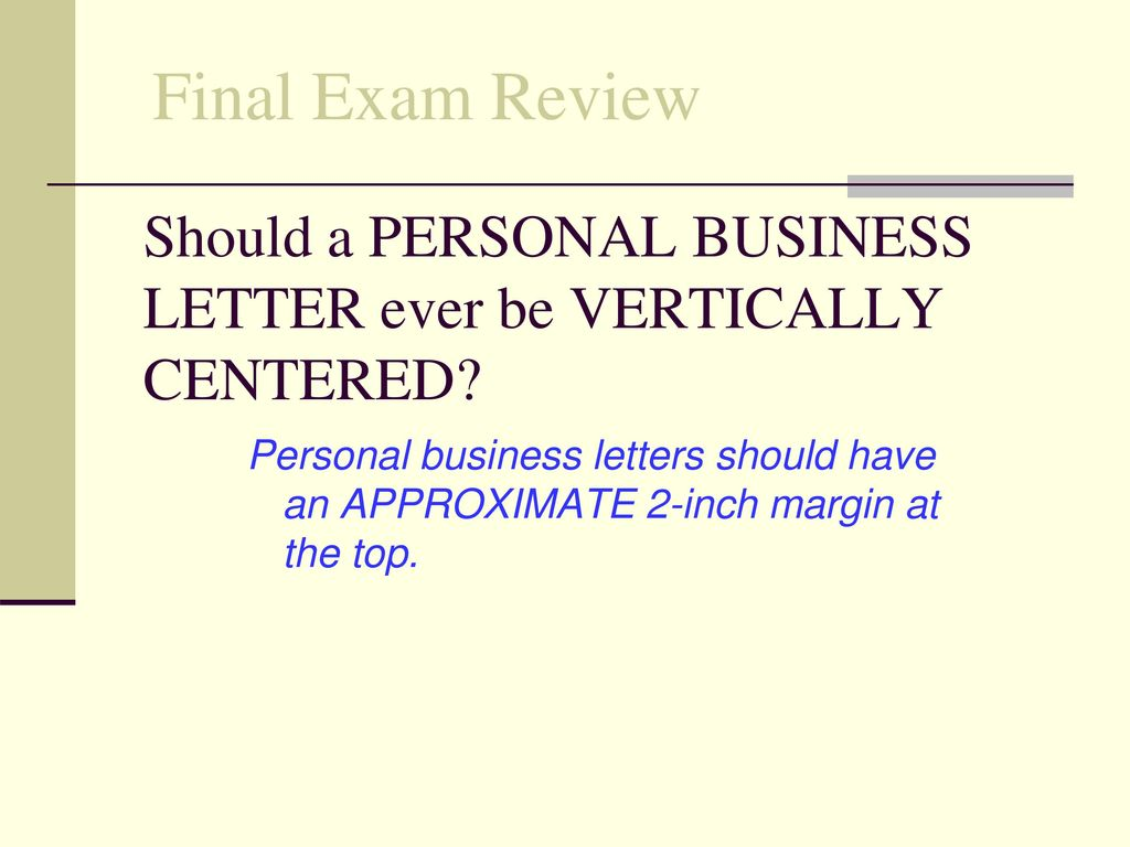 should a personal business - Personal Business Letter