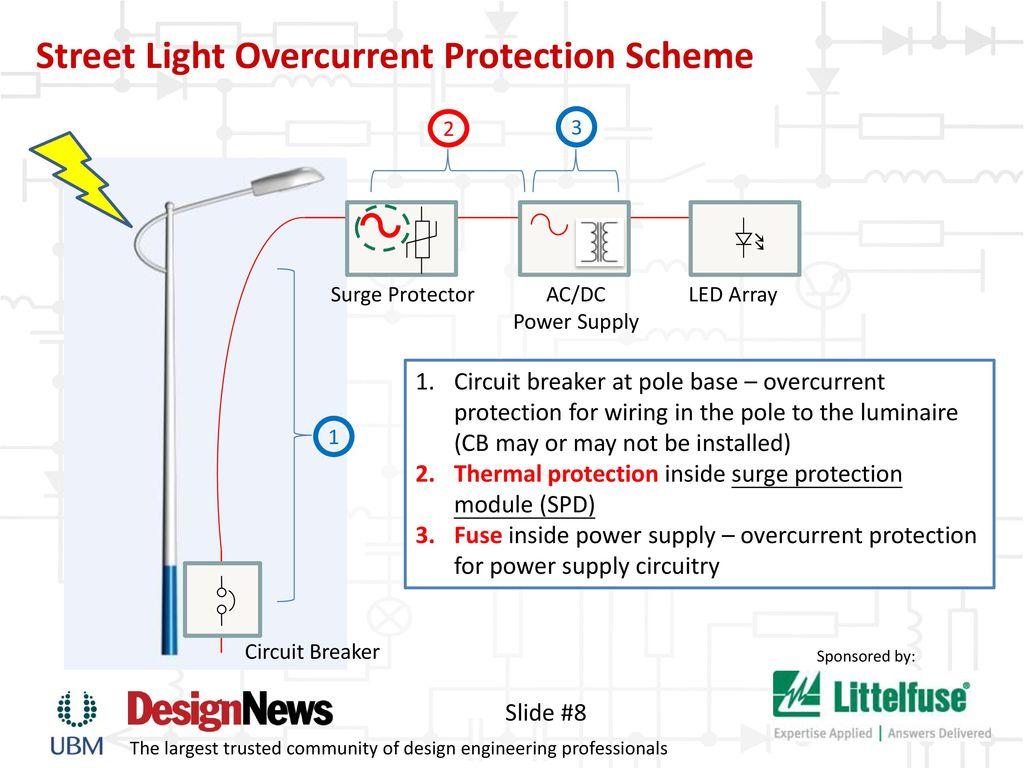 hight resolution of street light overcurrent protection scheme