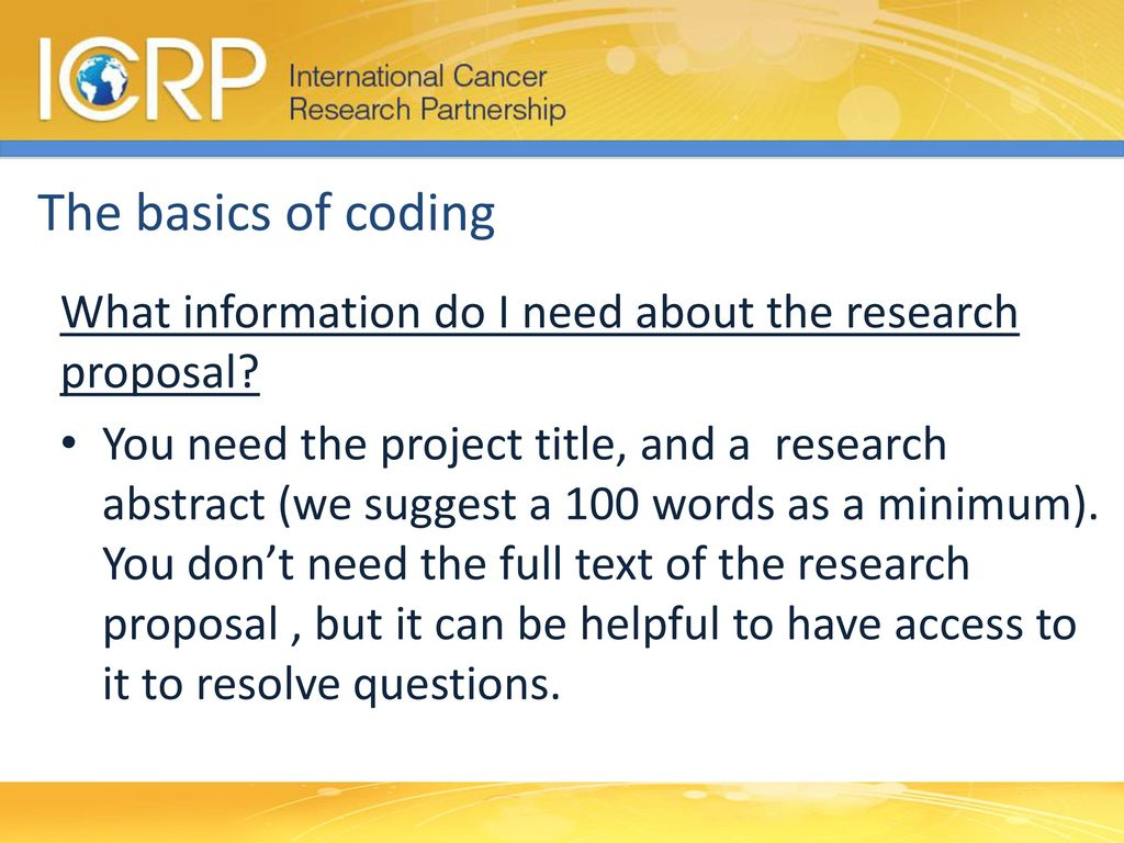 4 The Basics Of Coding What Information Do I Need About The Research  Proposal?