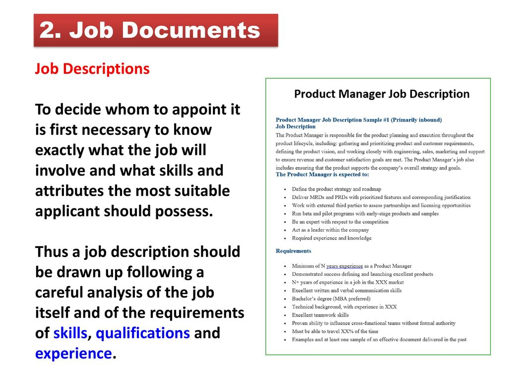 Job Documents Job Descriptions