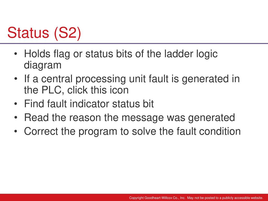 hight resolution of status s2 holds flag or status bits of the ladder logic diagram