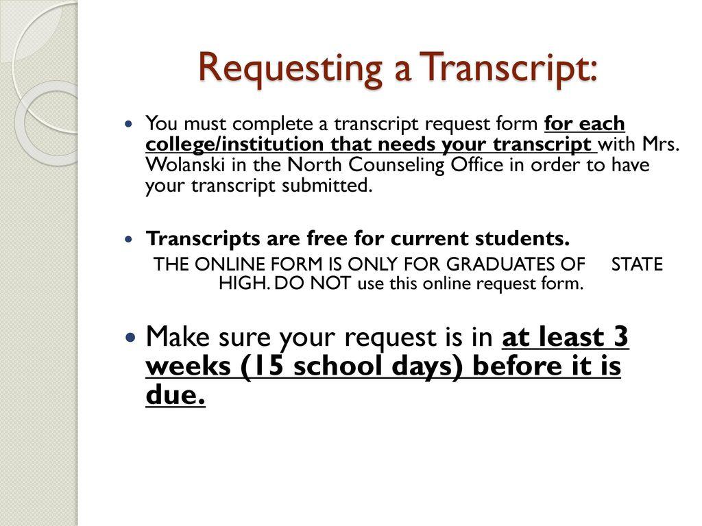 24 Requesting A Transcript: