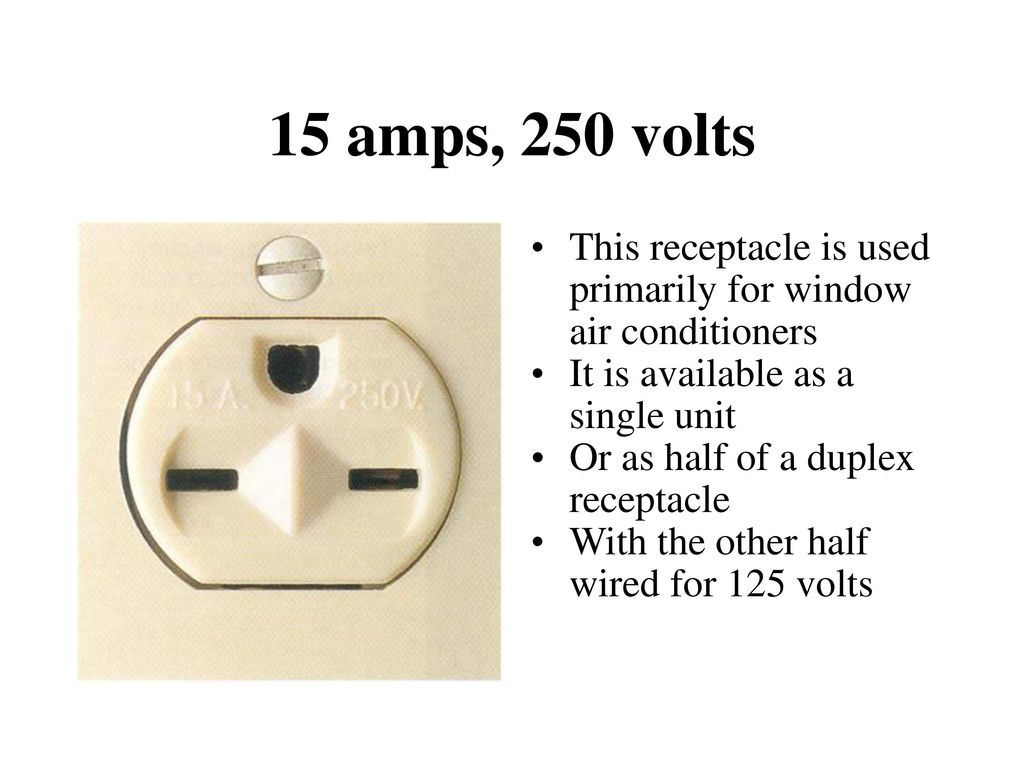 hight resolution of 15 amps 250 volts this receptacle is used primarily for window air conditioners it