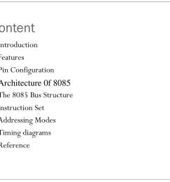 content introduction features pin configuration architecture 0f 8085 [ 1024 x 768 Pixel ]