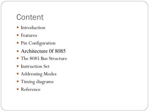 small resolution of content introduction features pin configuration architecture 0f 8085