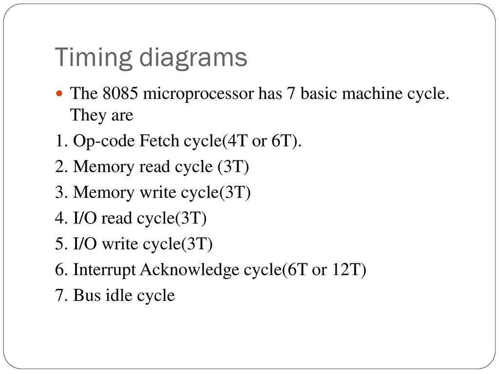 hight resolution of timing diagrams the 8085 microprocessor has 7 basic machine cycle they are 1