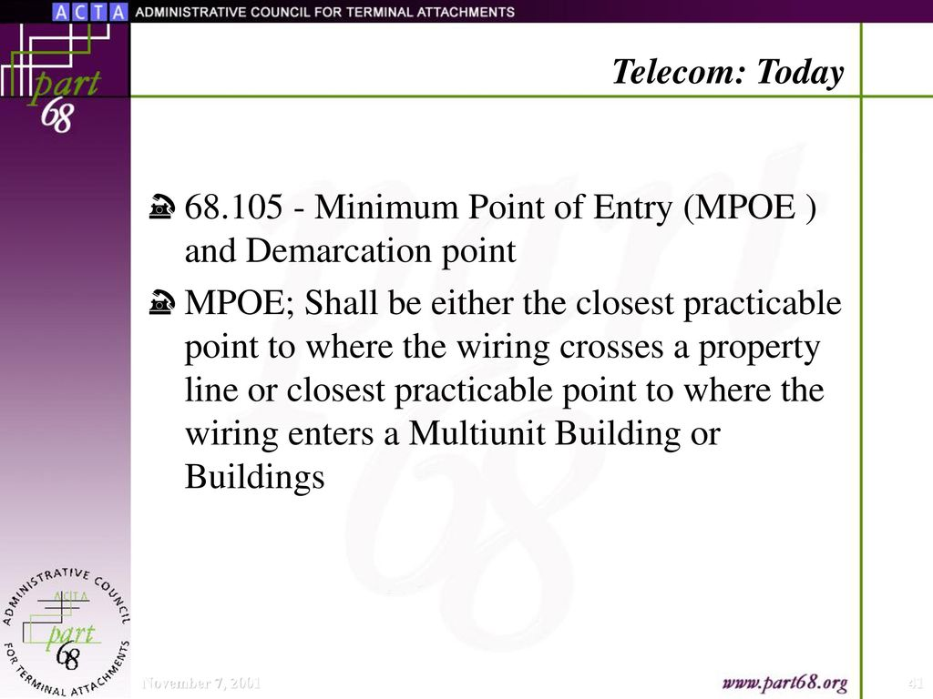 hight resolution of minimum point of entry mpoe and demarcation point