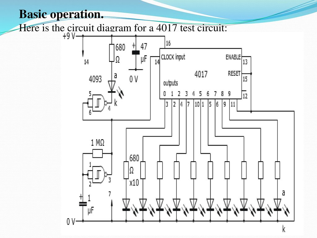 hight resolution of here is the circuit diagram for a 4017 test circuit