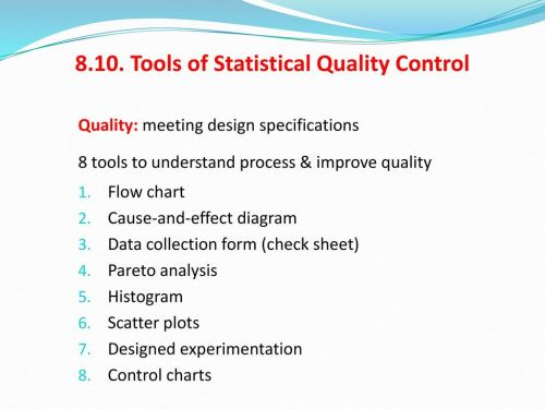 small resolution of tools of statistical quality control