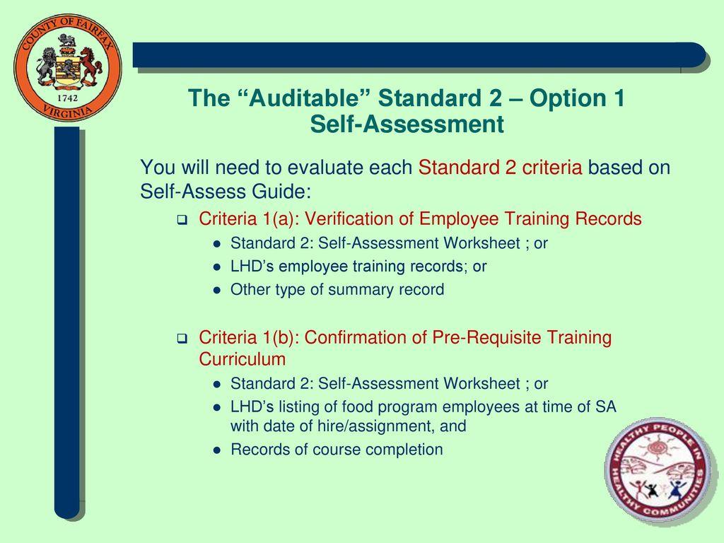 The Auditable Standard 2 – Option 1 Self-Assessment