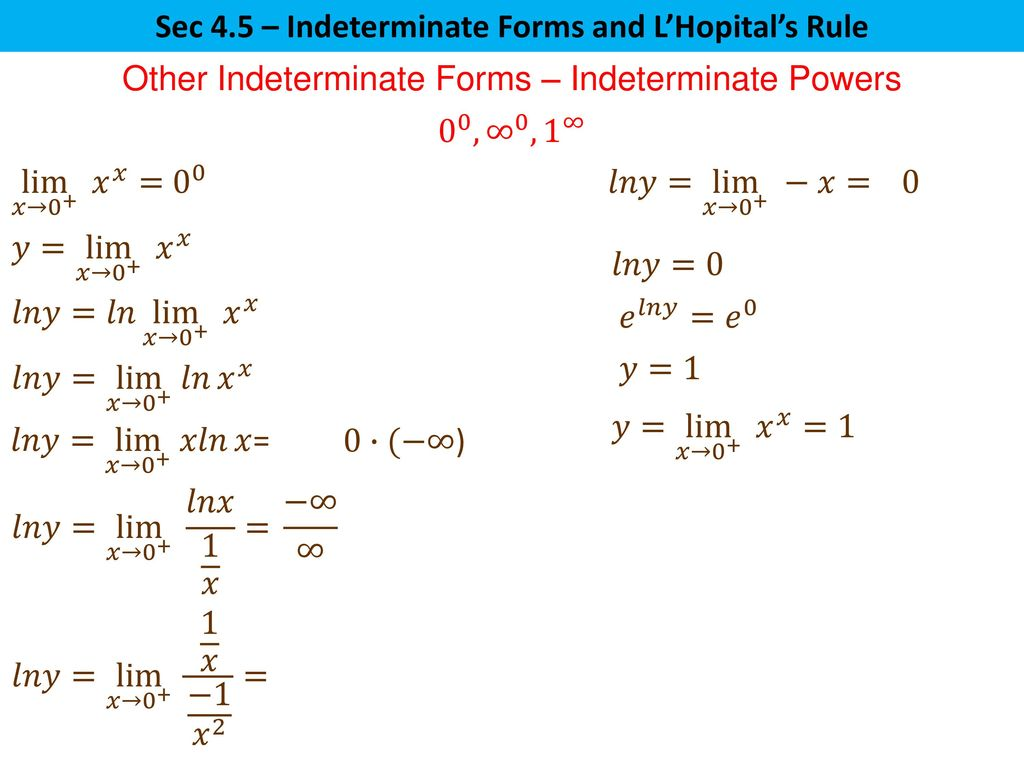 Sec 4 5 Indeterminate Forms And L Hopital S Rule