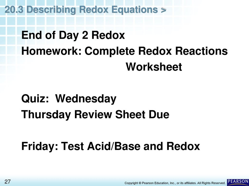 Chapter 20 Oxidation Reduction Reactions 20 3 Describing Redox