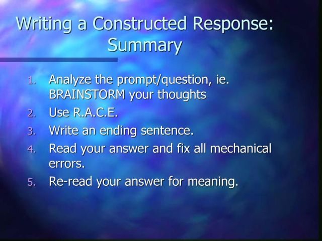 """28 minute Brainstorm """"Constructed Response"""" What? When? How? Etc"""
