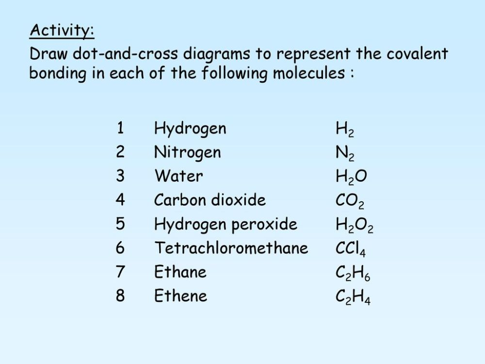 medium resolution of activity draw dot and cross diagrams to represent the covalent bonding in each