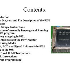 contents introduction block diagram and pin description of the 8051 [ 1024 x 768 Pixel ]