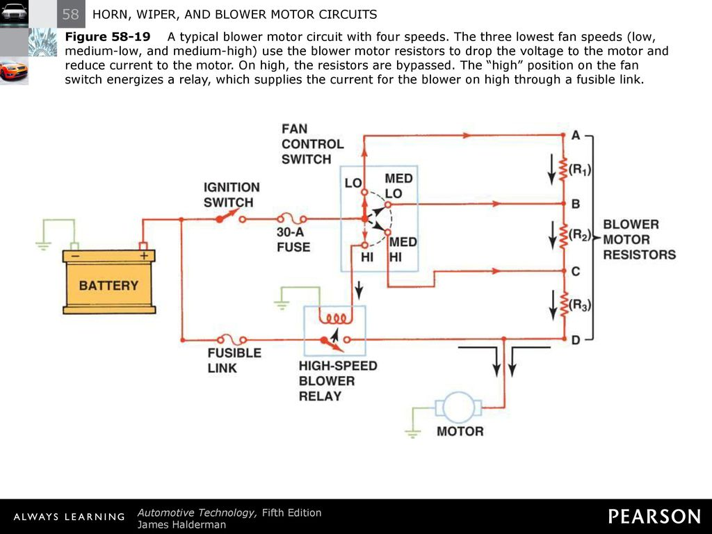 hight resolution of figure a typical blower motor circuit with four speeds