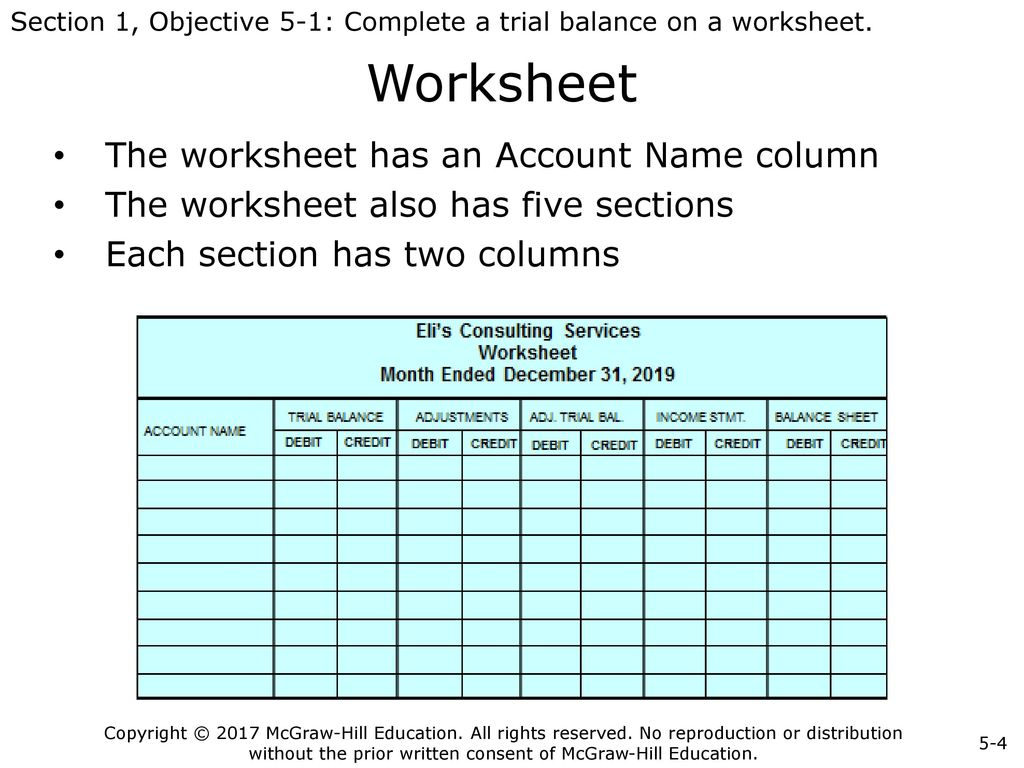 Accounting Worksheet Heading