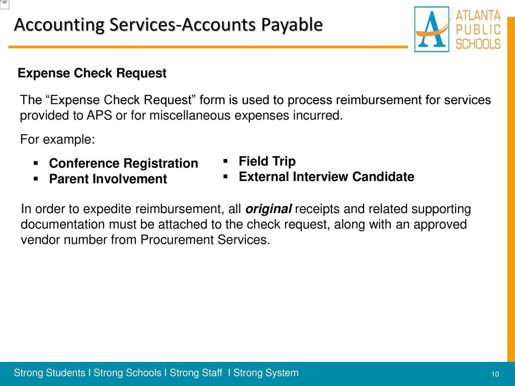 10 Accounting Services-Accounts Payable Expense Check Request