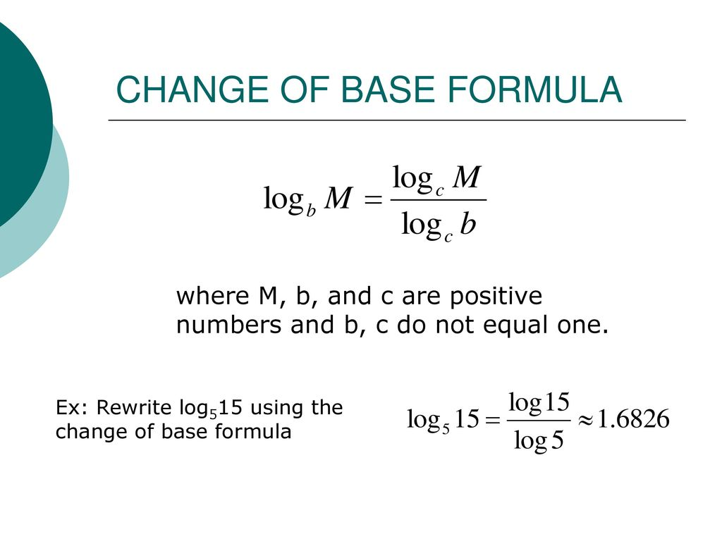 Logarithmic Equation Formula