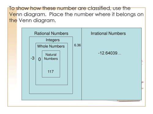 small resolution of to show how these number are classified use the venn diagram