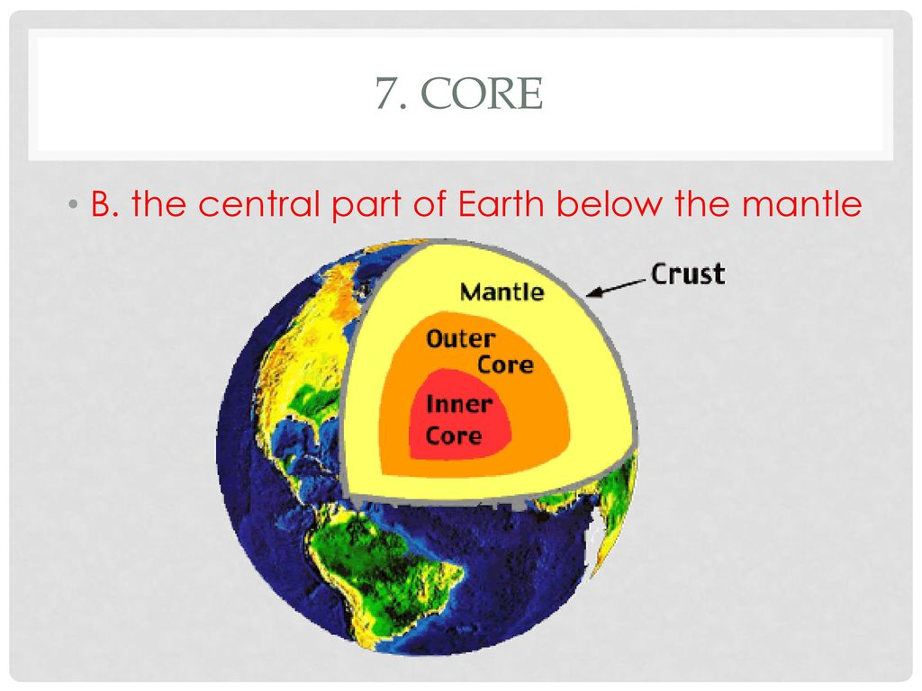 hight resolution of 9 7 core b the central part of earth below the mantle