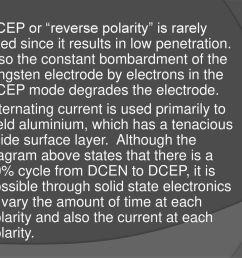 dcep or reverse polarity is rarely used since it results in low penetration also the [ 1024 x 768 Pixel ]