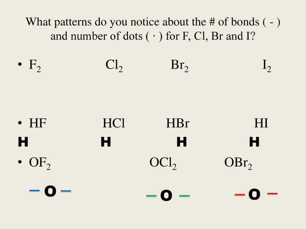 medium resolution of o o o f2 cl2 br2 i2 hf hcl hbr hi h h h h of2 ocl2 obr2