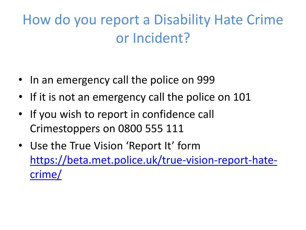 How Do You Report A Disability Hate Crime Or Incident