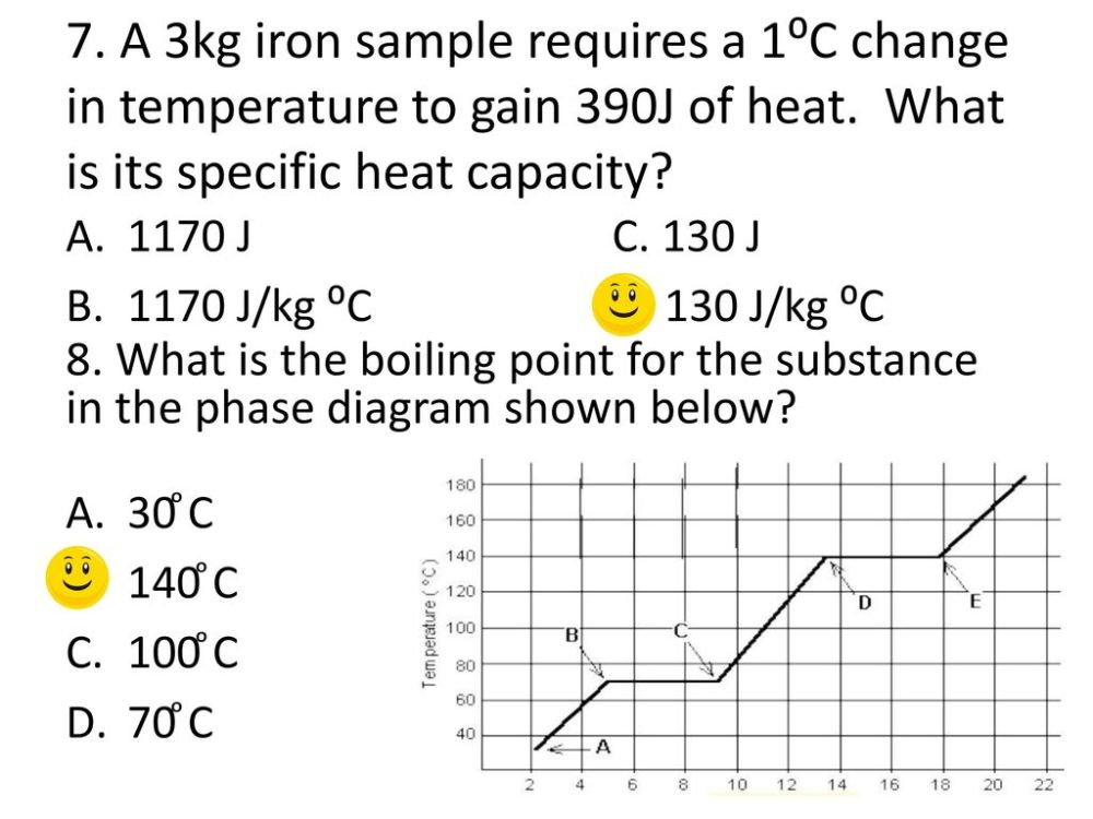 medium resolution of a 3kg iron sample requires a 1 c change in temperature to gain 390j of