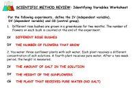 SCIENTIFIC METHOD REVIEW: Identifying Variables Worksheet ...