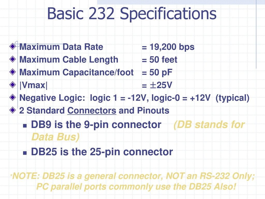 hight resolution of basic 232 specifications maximum data rate 19 200 bps maximum cable length 50 feet 16 rs 232 db25 pin out