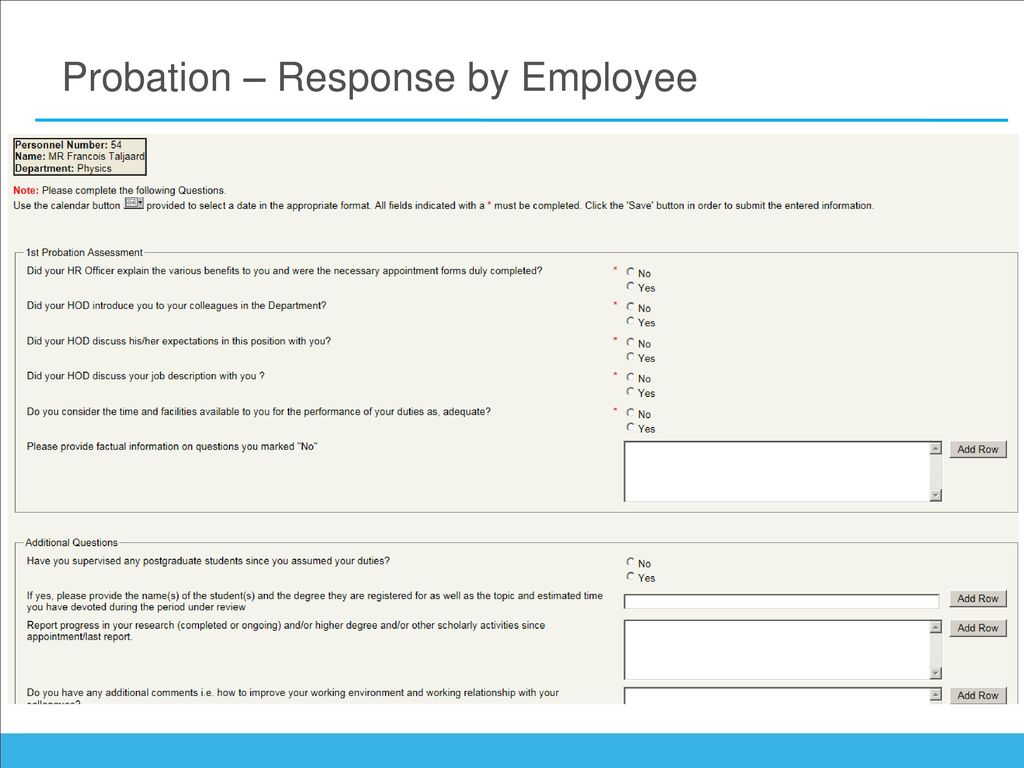 21 Probation – Response By Employee