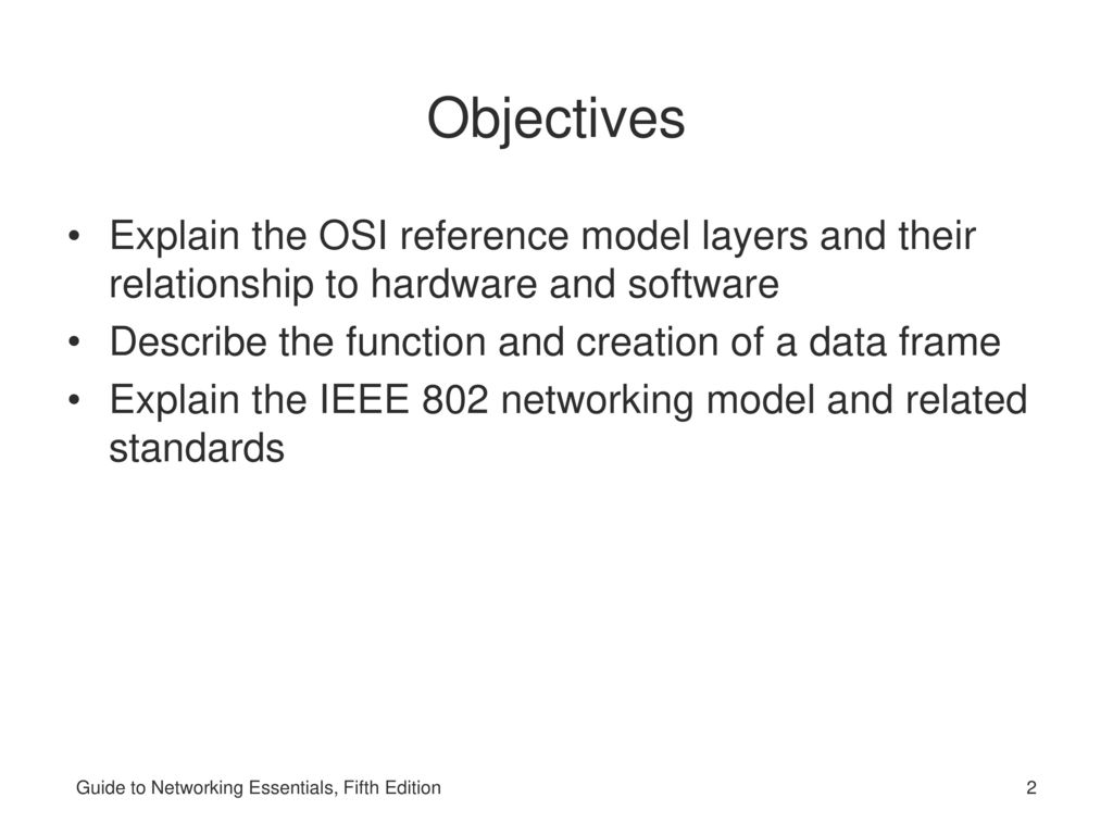 hight resolution of objectives explain the osi reference model layers and their relationship to hardware and software