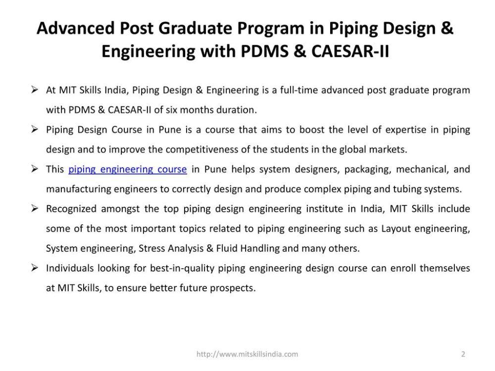 medium resolution of advanced post graduate program in piping design engineering with pdms caesar ii
