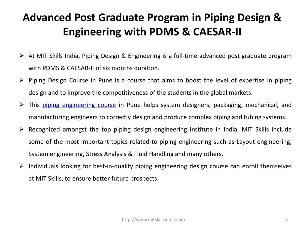 hight resolution of advanced post graduate program in piping design engineering with pdms caesar ii