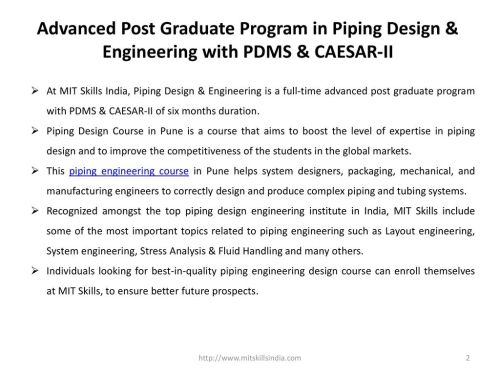 small resolution of advanced post graduate program in piping design engineering with pdms caesar ii