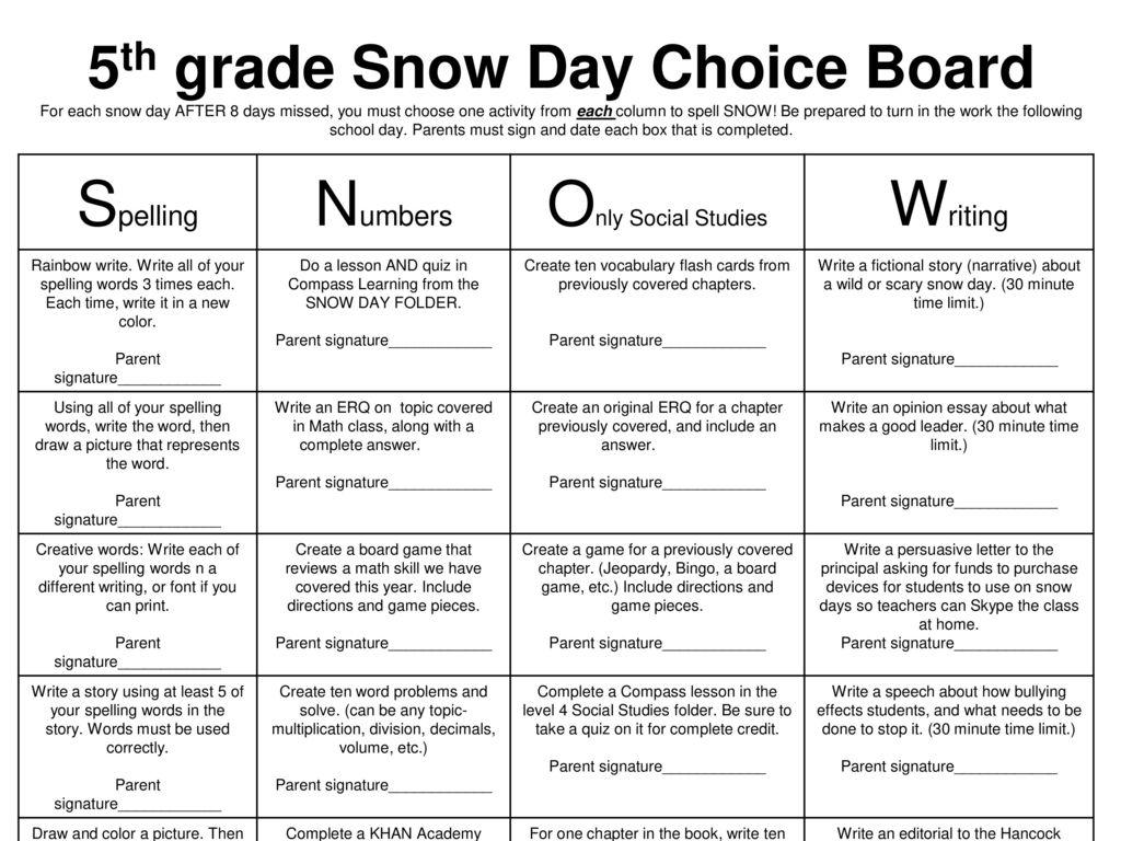 5th Grade Snow Day Choice Board