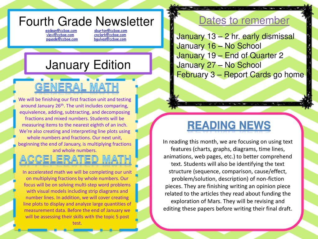 hight resolution of fourth grade newsletter