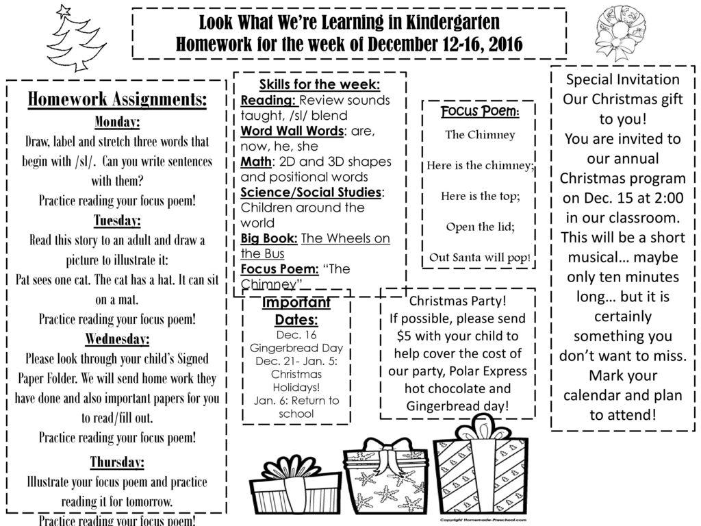 Kindergarten Homework Assignments Free Kindergarten