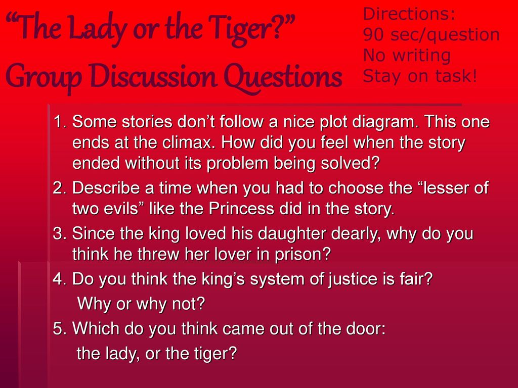 the lady or tiger plot diagram 1971 ct70 wiring group discussion questions ppt download 1