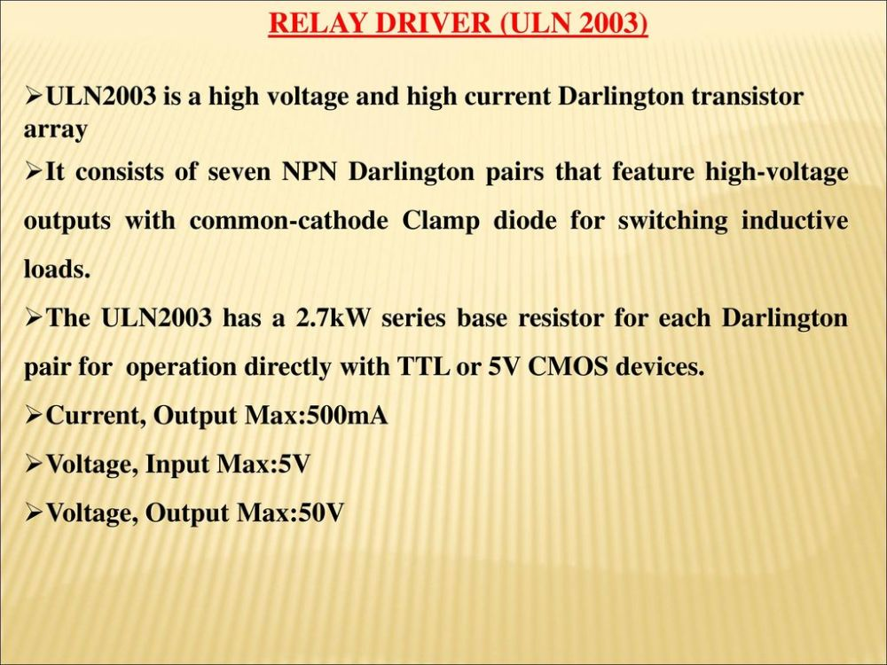 medium resolution of relay driver uln 2003 uln2003 is a high voltage and high current darlington transistor