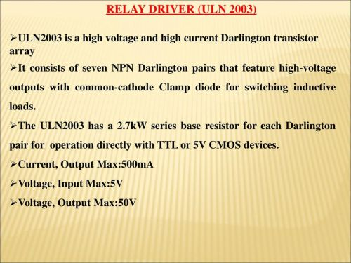 small resolution of relay driver uln 2003 uln2003 is a high voltage and high current darlington transistor