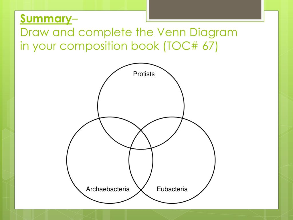 eubacteria and archaebacteria venn diagram 110 quad wiring other characteristics ppt download protists summary draw complete the in your composition book toc 67