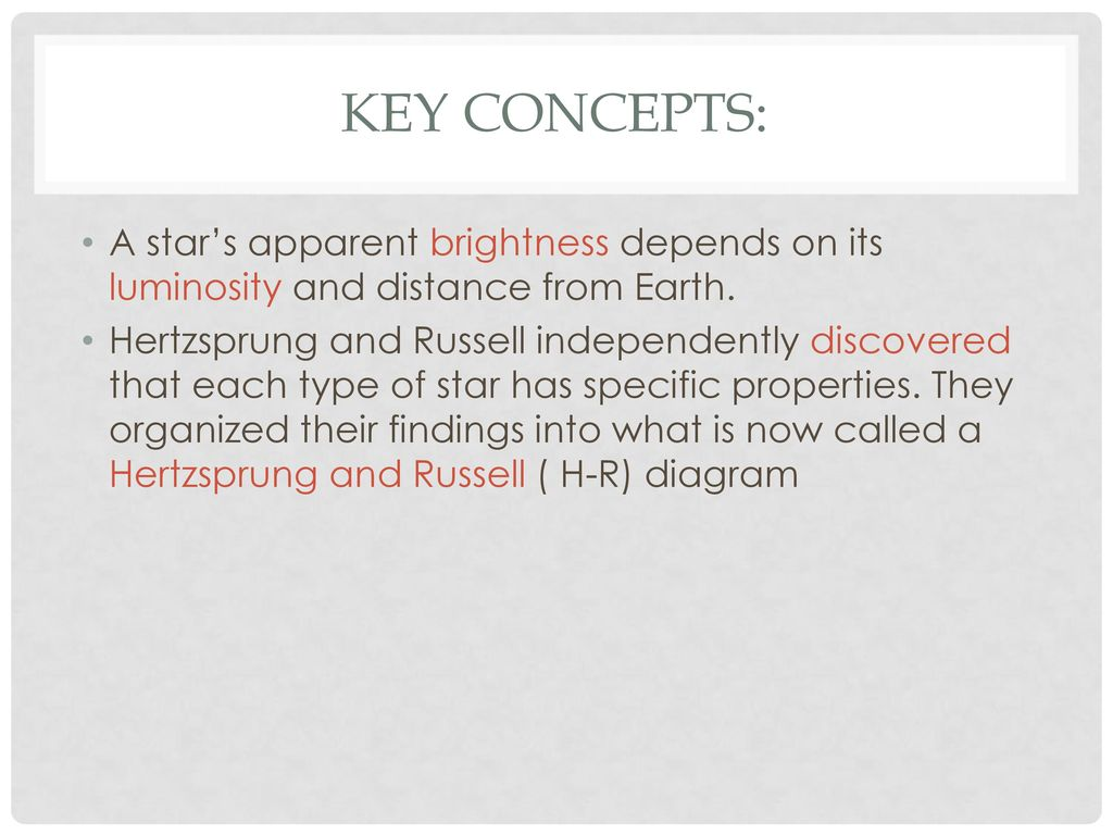 hight resolution of key concepts a star s apparent brightness depends on its luminosity and distance from earth